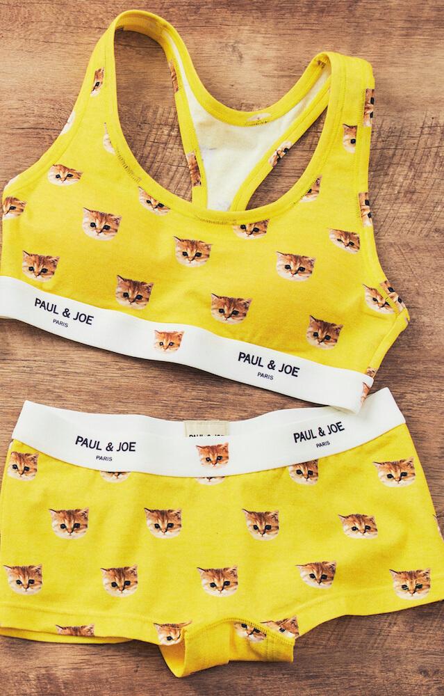 猫のヌネットが全面にデザインされたブラ&ボクサーショーツセット by PAUL & JOE(ポールアンドジョー)