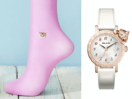 猫モチーフのタイツや腕時計で春のコーディネート、ポールアンドジョーから新作アイテムが登場