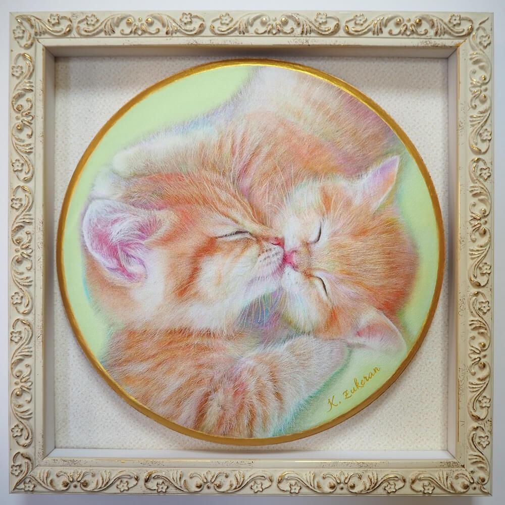 猫のフレスコ画「きすねこ」 by 瑞慶覧かおり