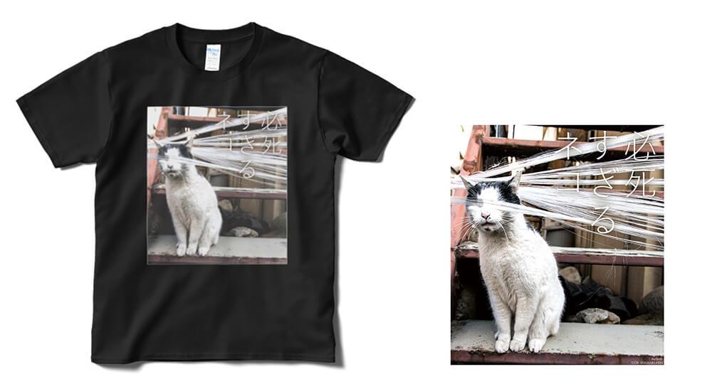 目隠しされた必死すぎるネコのTシャツ by 沖昌之