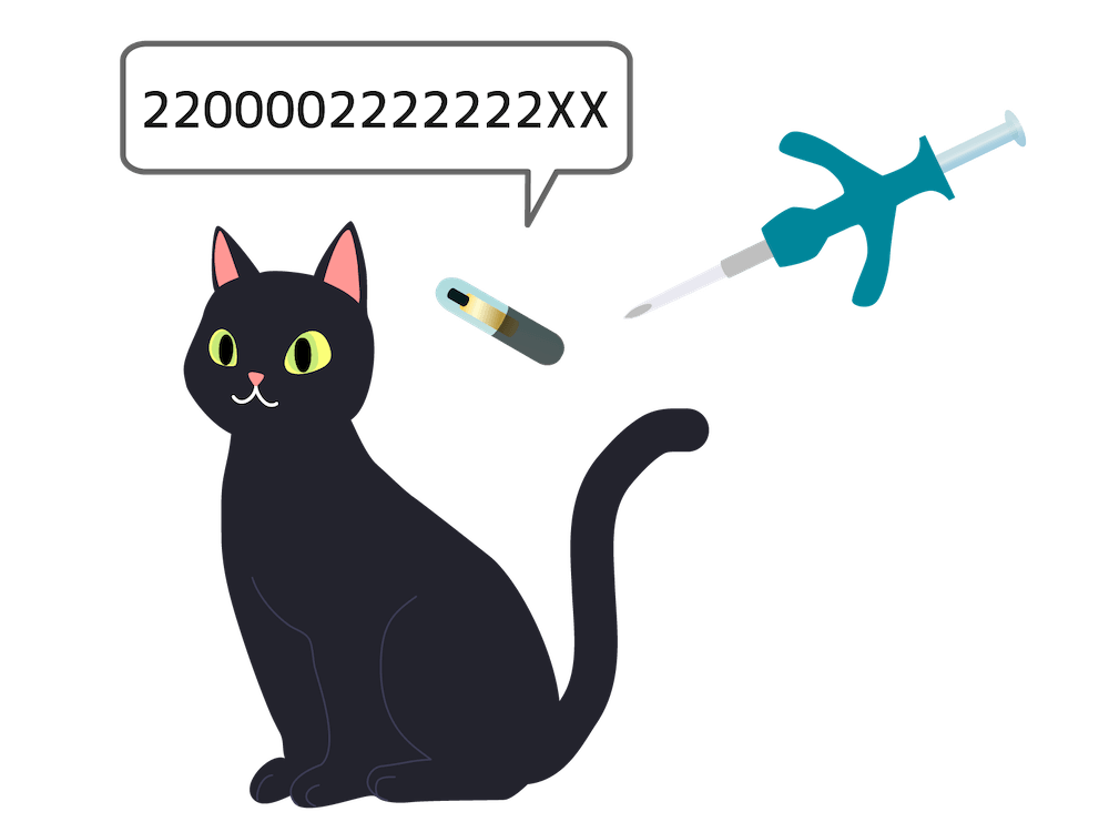 猫にマイクロチップを装着するイメージイラスト