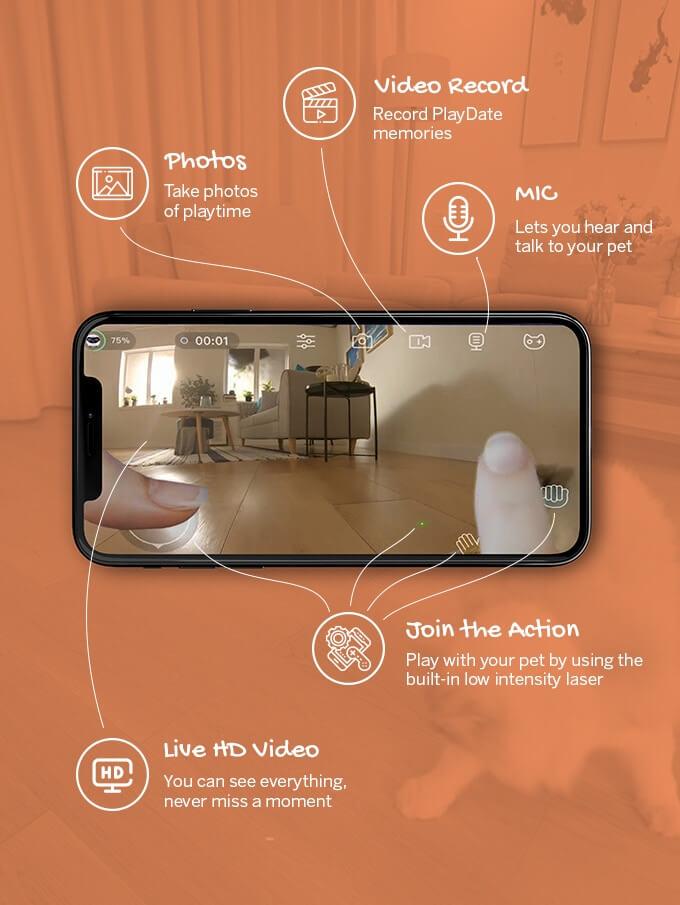 猫用スマートロボット「Ebo(イーボ)」のアプリ操作画面イメージ