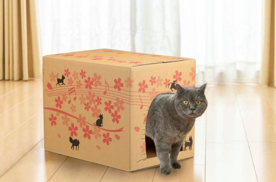 猫ハウスとして再利用できるカインズの猫砂ダンボール箱(桜デザイン)