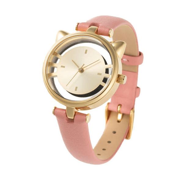 猫型スケルトン腕時計のサーモンピンクカラー(ESL081W4) by GRANDEUR(マルゼキ)