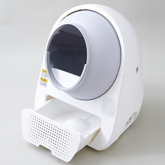ダストボックスのコンテナを開けたイメージ by 全自動猫トイレ CAT LINK(キャットリンク)