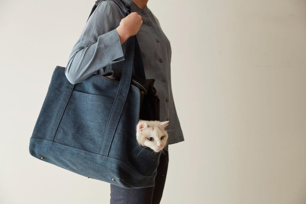 「Neko Carry Bag(ネコキャリーバッグ)」から顔を出す猫