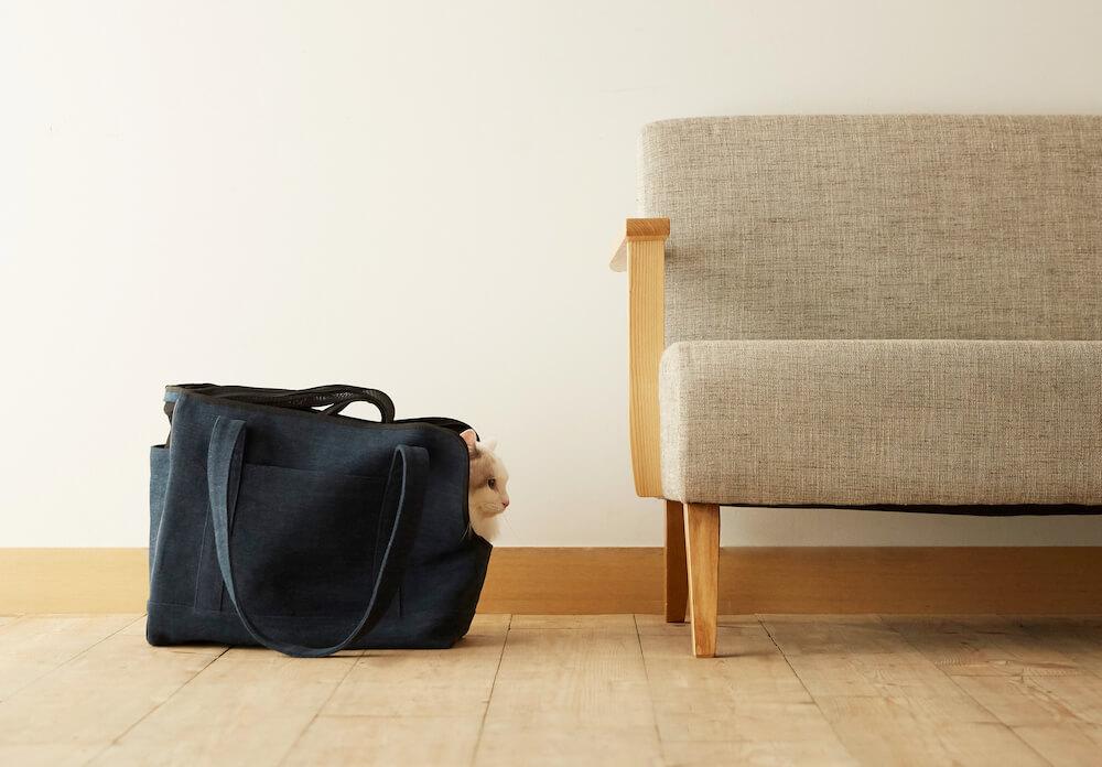 猫ハウスのように「Neko Carry Bag(ネコキャリーバッグ)」の中に入ってくつろぐ猫