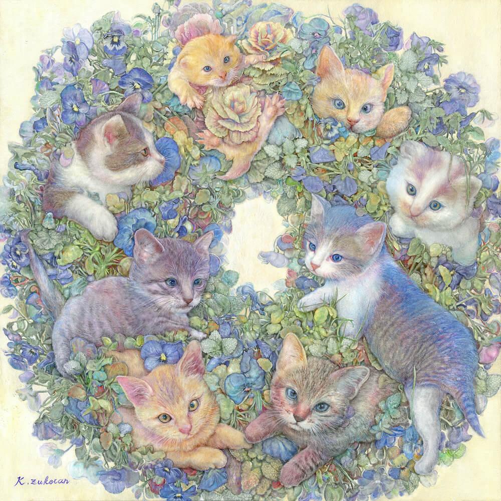 猫のフレスコ画「猫の花環」 by 瑞慶覧かおり