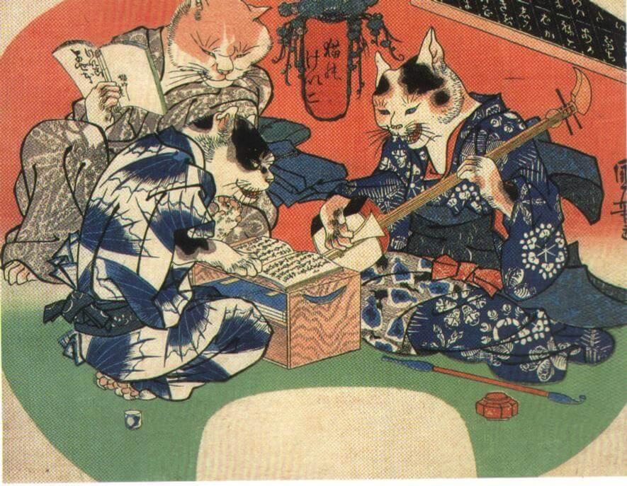 歌川国芳の浮世絵「猫のけいこ」