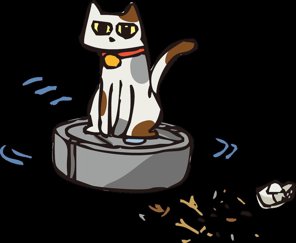 ロボット掃除機の上に乗る猫のイラスト