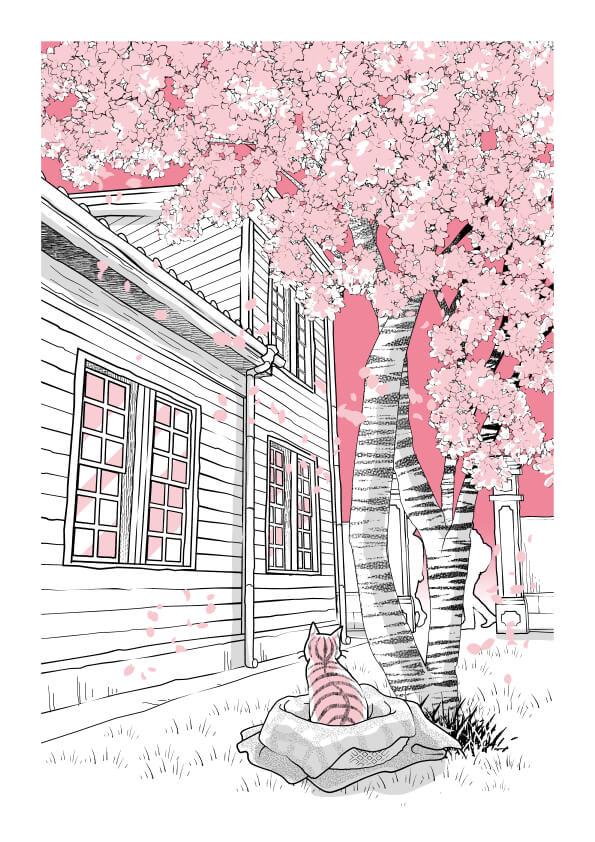 マルモトイヅミさんによるイラスト by 書籍「心にいつも猫をかかえて」