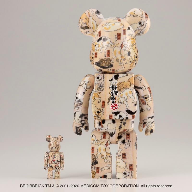 歌川国芳の浮世絵「猫飼好五十三疋」をモチーフにしたベアブリック(BE@RBRICK)背面イメージ