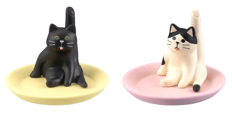 グルーミングアクセサリートレイの2種類、黒猫&ハチワレバージョン