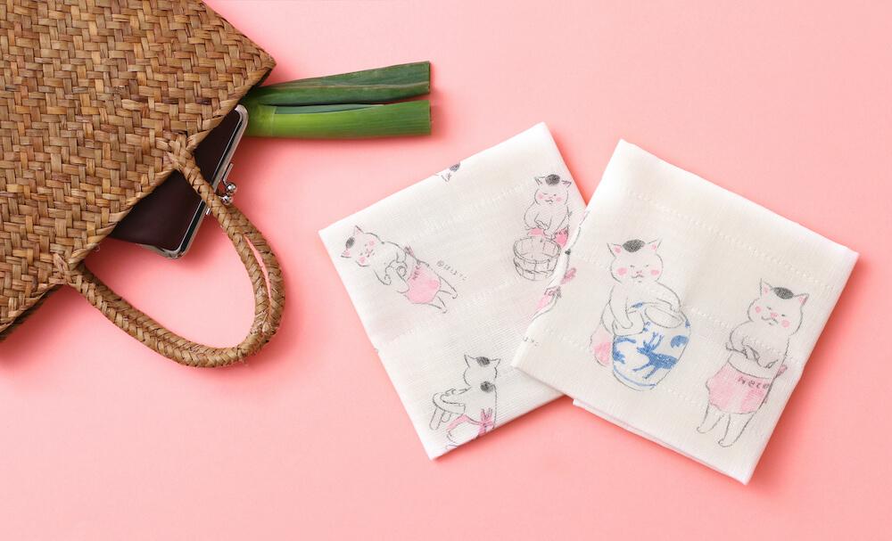 今日の猫村さんのイラストがデザインされた「かや織ふきん」 by 中川政七商店