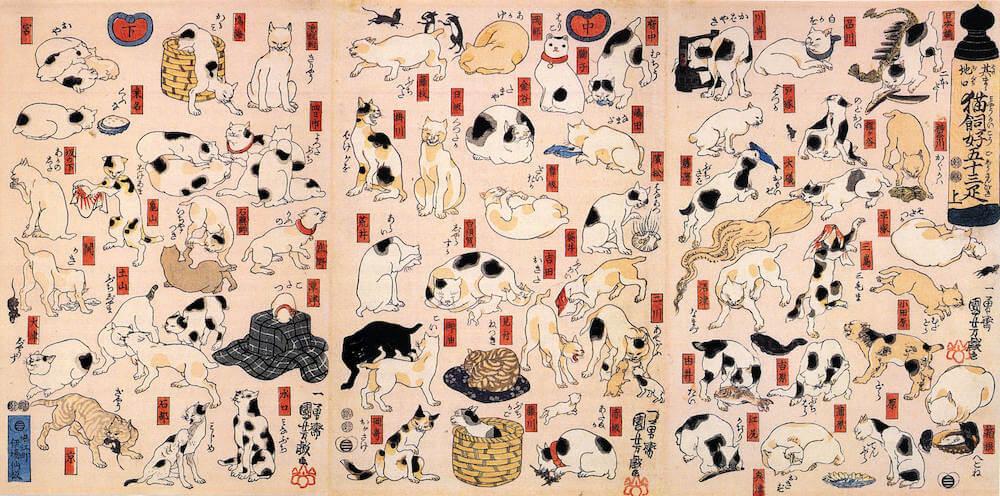 歌川国芳の浮世絵「其のまま地口 猫飼好五十三疋」