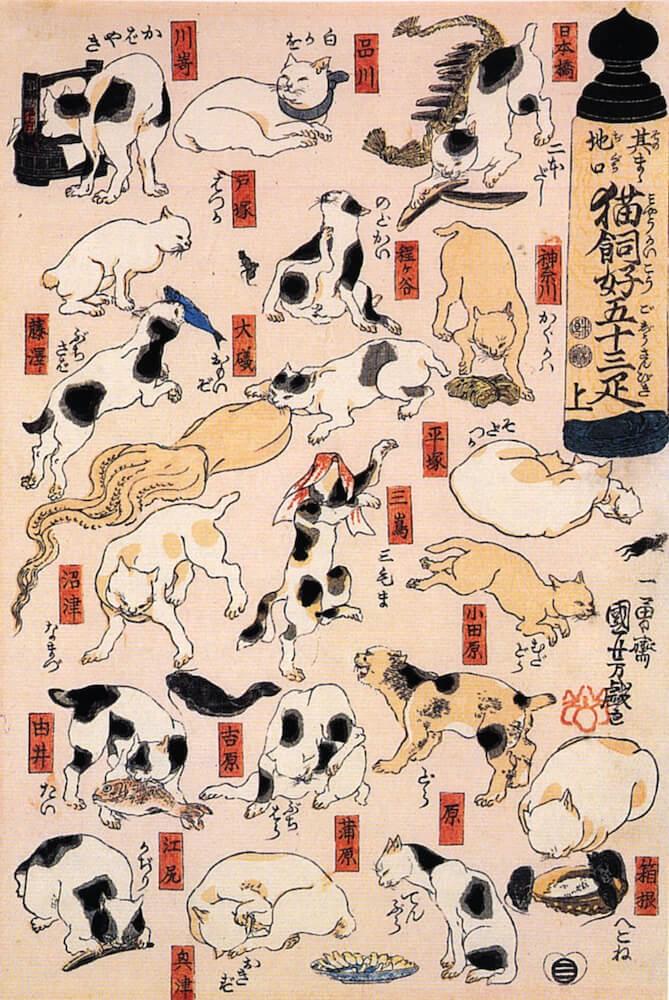 歌川国芳の浮世絵「其のまま地口 猫飼好五十三疋」の拡大イメージ