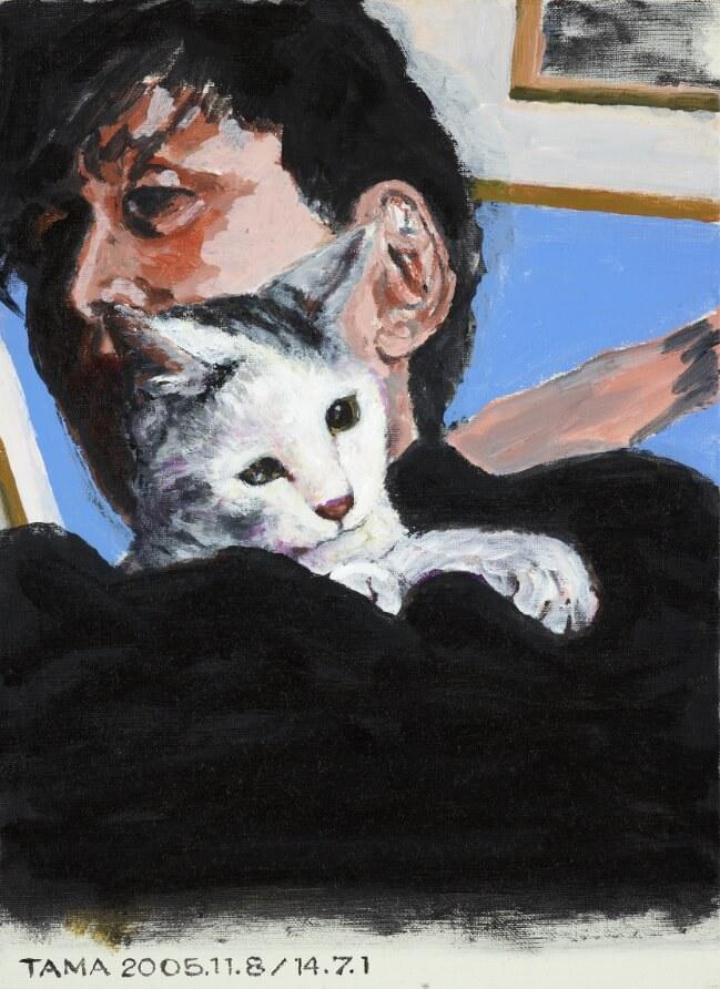 横尾忠則と愛猫タマの肖像画 by タマ、帰っておいで