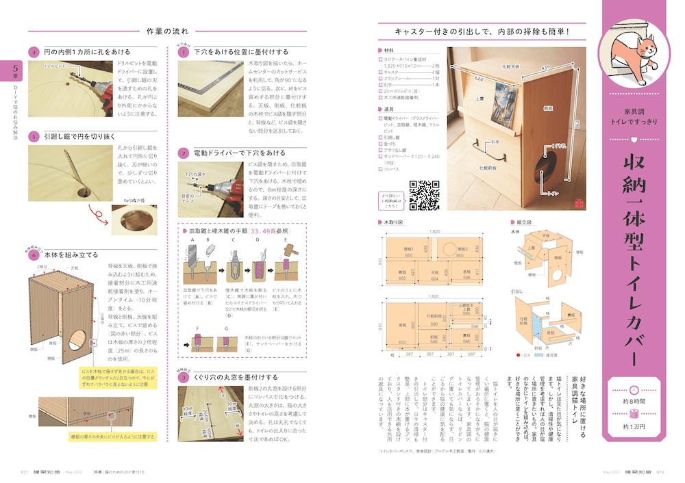 DIYによる収納一体型トイレカバーの作り方解説ページ by 建築知識2020年5月号