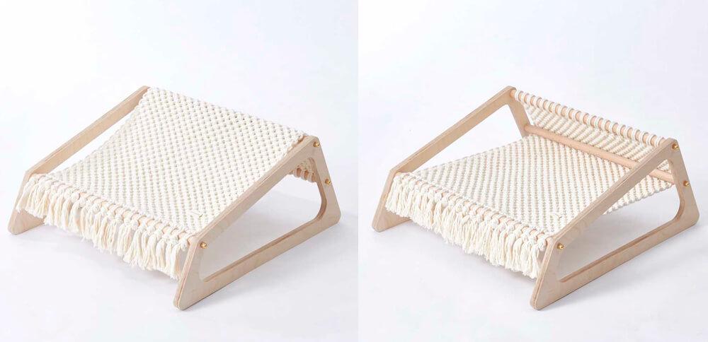 ディノスのペット用のハンモック、2パターンの布の張り方イメージ