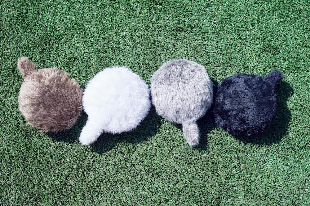 「Petit Qoobo(プチ・クーボ)」の全4色カラー、マロン(茶)、 ブラン(白) 、グリ(灰) 、ノワール(黒)