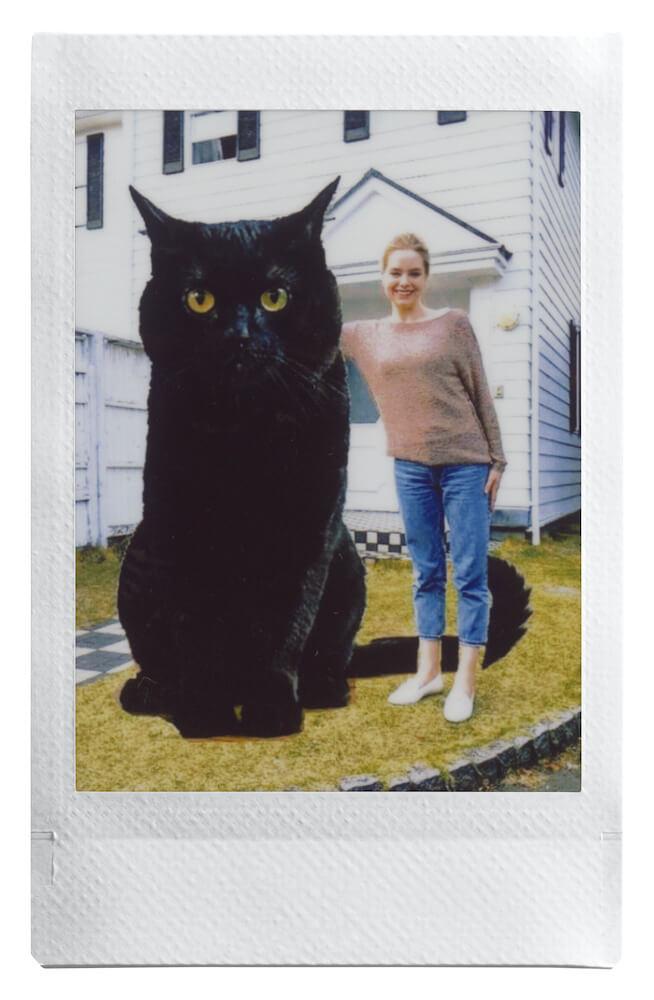スマホ用の小型プリンター「instax mini Link」で作成した黒猫と女性の合成写真