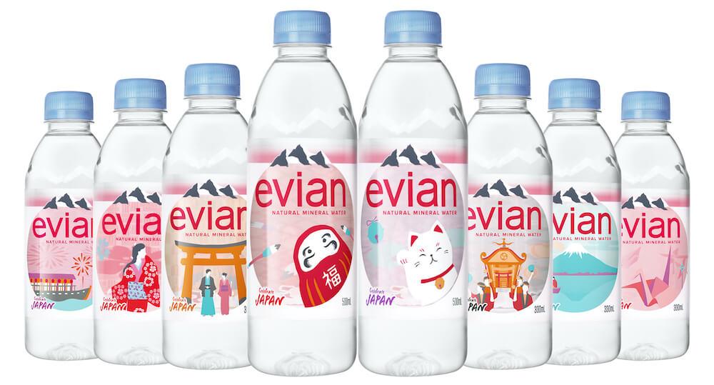 ミネラルウォーター「エビアン」日本上陸35年記念の限定デザインボトル全8種類