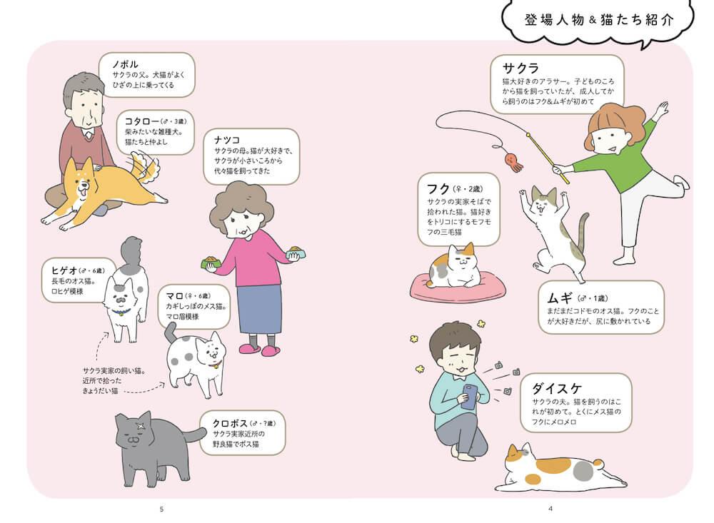 「ねこほん 猫のほんねがわかる本」の登場人物&猫の紹介ページ