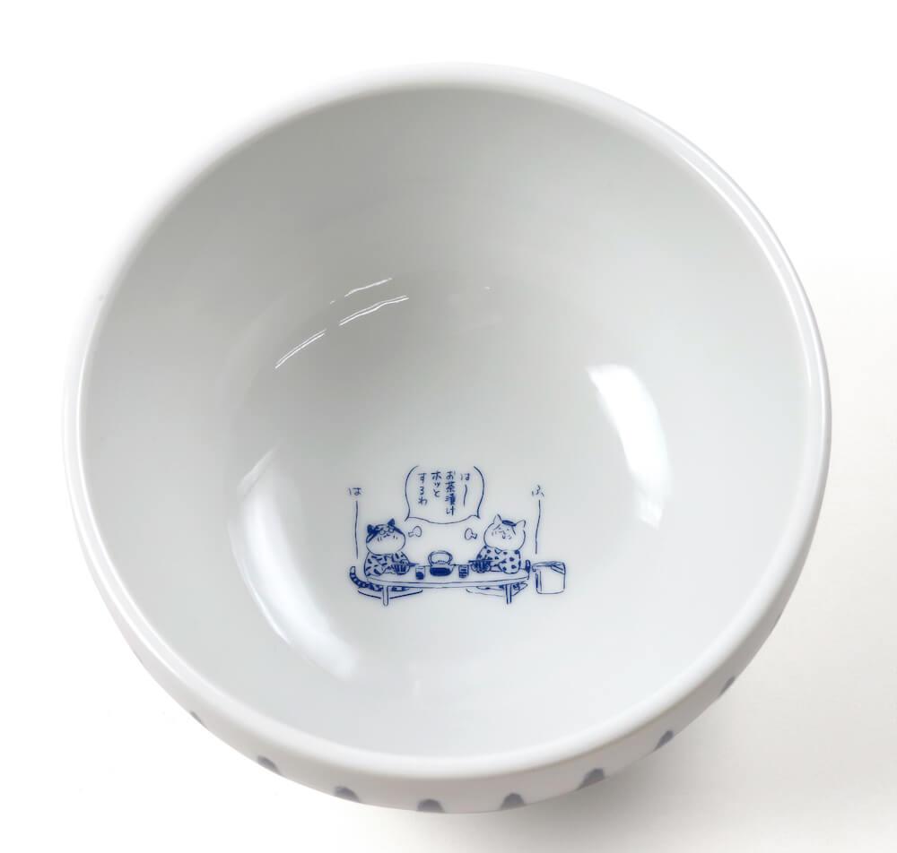 猫マンガ「トラとミケ」のイラストがデザインされた「お茶漬けどんぶり」真上から見たイメージ
