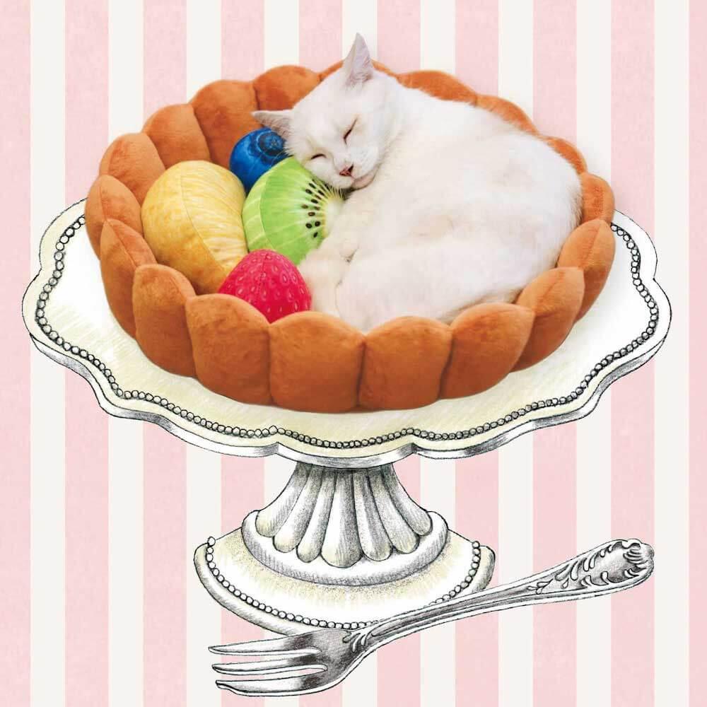 フルーツタルト型の猫用ベッド