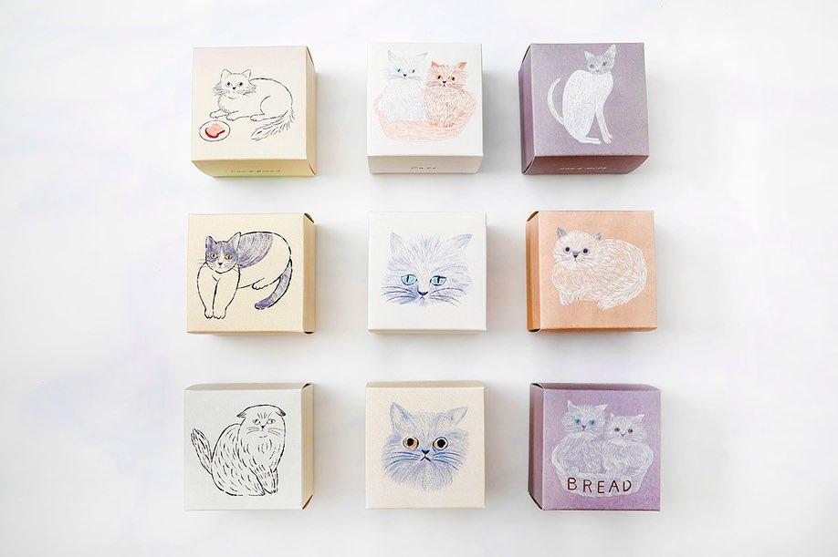猫イラストがデザインされた「ねこねこクッキー」の商品パッケージ(全9種類) by イラストレーターの松尾ミユキさんによる