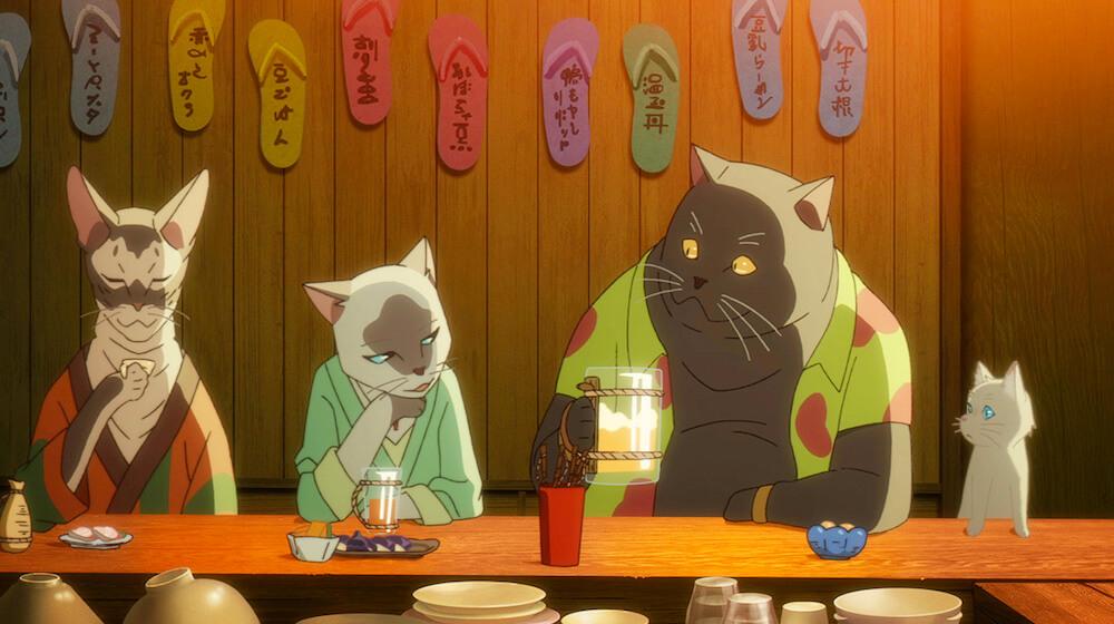 映画「泣きたい私は猫をかぶる」に登場する猫住人のカキヌマ、タマキ、スギタ、太郎