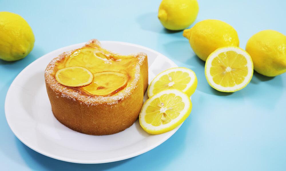 「ねこねこチーズケーキ〜瀬戸内レモン〜」を皿に盛り付けたイメージ