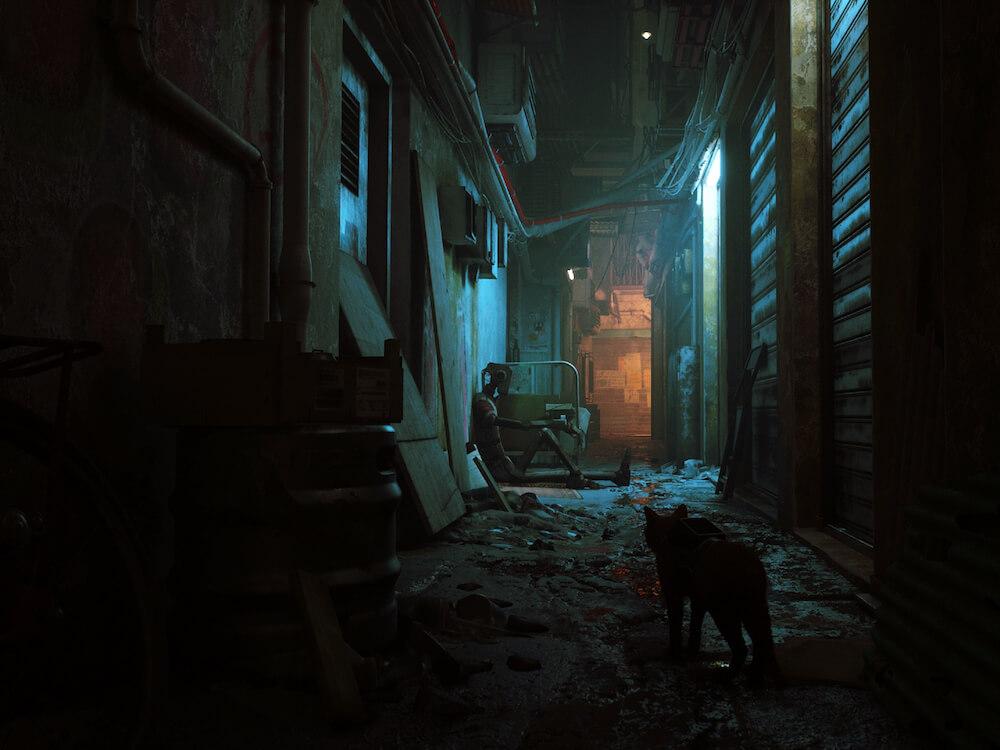 薄暗いネオンサインに照らされた路地のイメージ by 猫のアドベンチャーゲーム「Stray(ストレイ)」