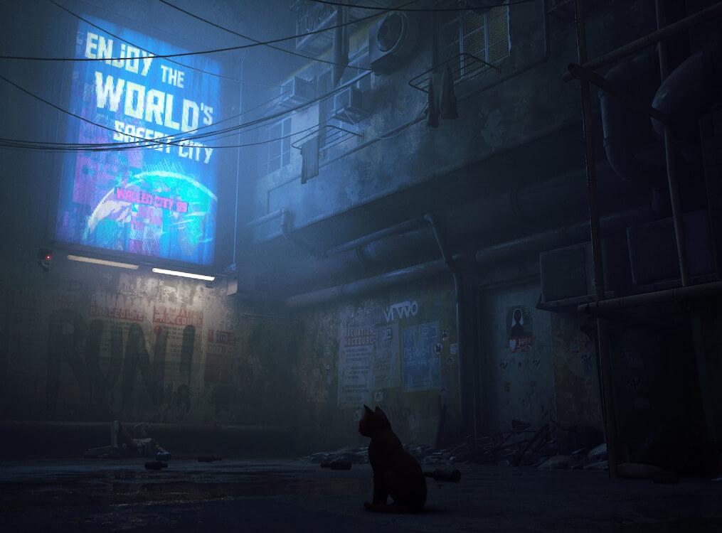 ゲームのワンシーンである薄暗いネオンサインを見つめる猫 by 猫のアドベンチャーゲーム「Stray(ストレイ)」