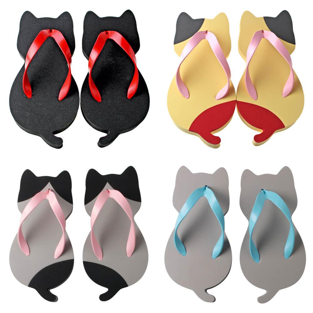 ネコ型のサンダル「にゃらげた」ジュニアサイズの4種類デザイン(クロネコ、ミケネコ、ハチワレ、ロシアンブルー)