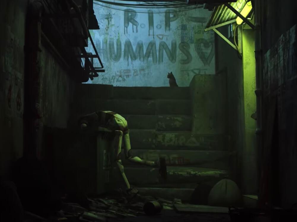 人類が滅亡した世界観を表現 by 猫のアドベンチャーゲーム「Stray(ストレイ)」