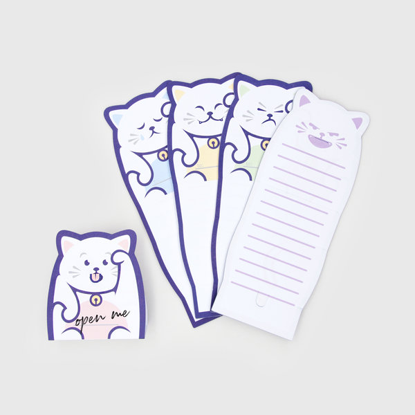 猫モチーフのメモパッド「Lucky Cat Message Pads」の製品イメージ by SUCK UK