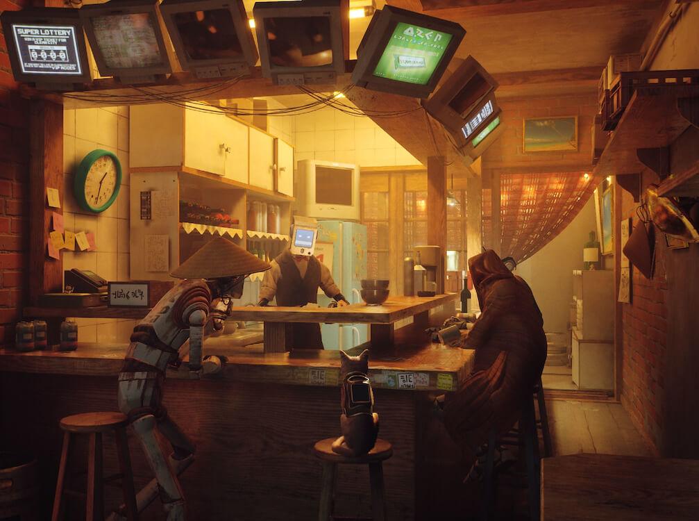 おお店のカウンターにすわるロボットと猫 by 猫のアドベンチャーゲーム「Stray(ストレイ)」