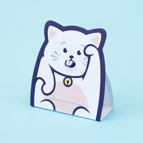 折り畳むと立たせておける猫モチーフのメモパッド「Lucky Cat Message Pads」 by SUCK UK