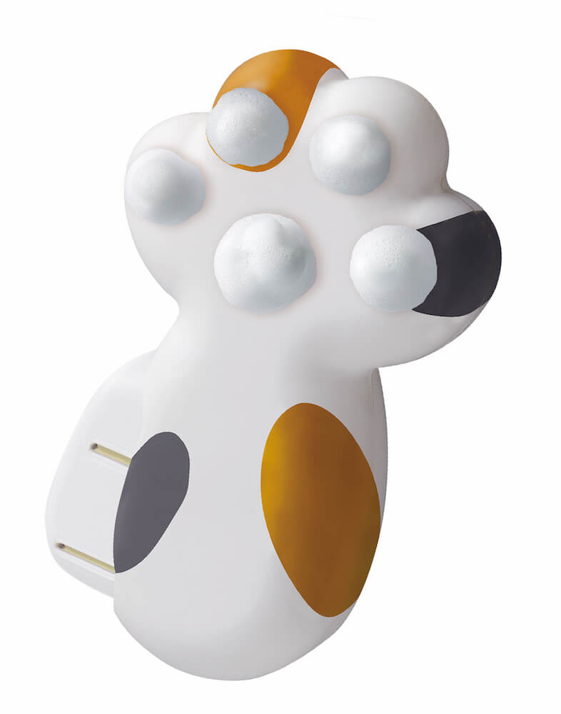 猫の手の形をしたハンドソープディスペンサー「泡にゃん」三毛猫デザイン