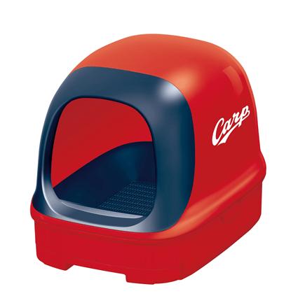 広島東洋カープの赤いヘルメット(赤ヘル)をモチーフにした猫トイレ by ニャンとも清潔トイレ