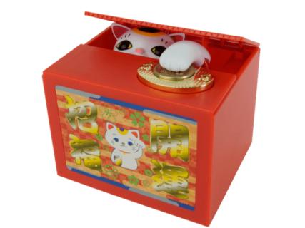 ネコに威嚇されることも…人気の貯金箱「いたずらBANK」から招き猫バージョン「開運!招き猫BANK」が登場