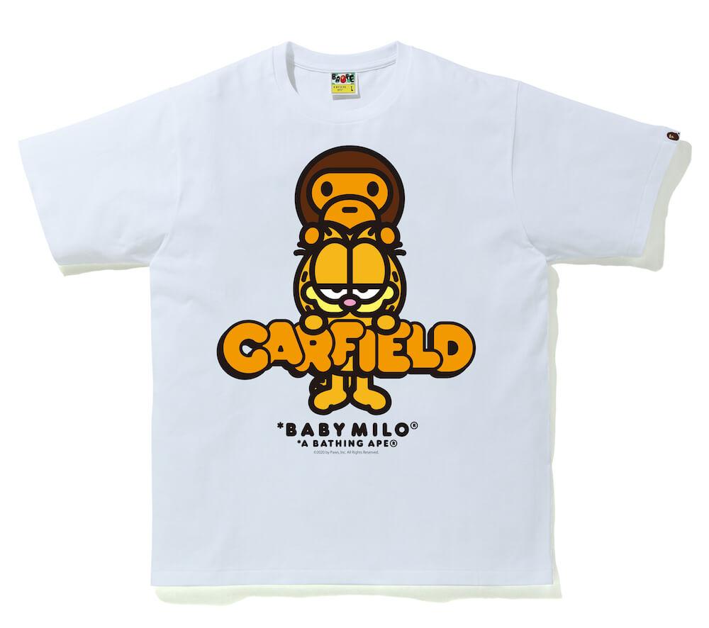 MILO(マイロ)×GARFIELD(ガーフィールド)のコラボTシャツ、ホワイトカラー