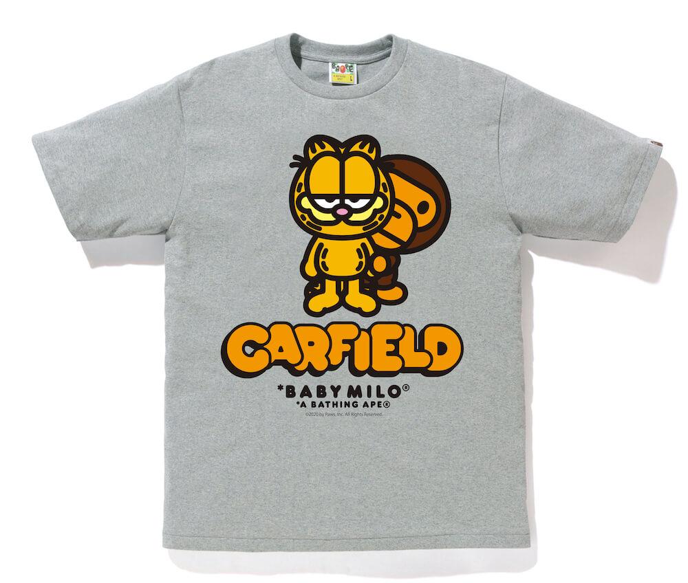 MILO(マイロ)×GARFIELD(ガーフィールド)のコラボTシャツ、グレーカラー