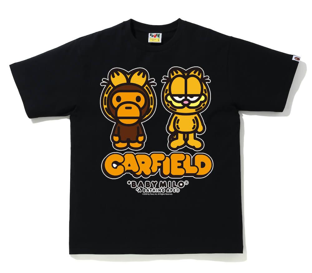 MILO(マイロ)×GARFIELD(ガーフィールド)のコラボTシャツ、ブラックカラー