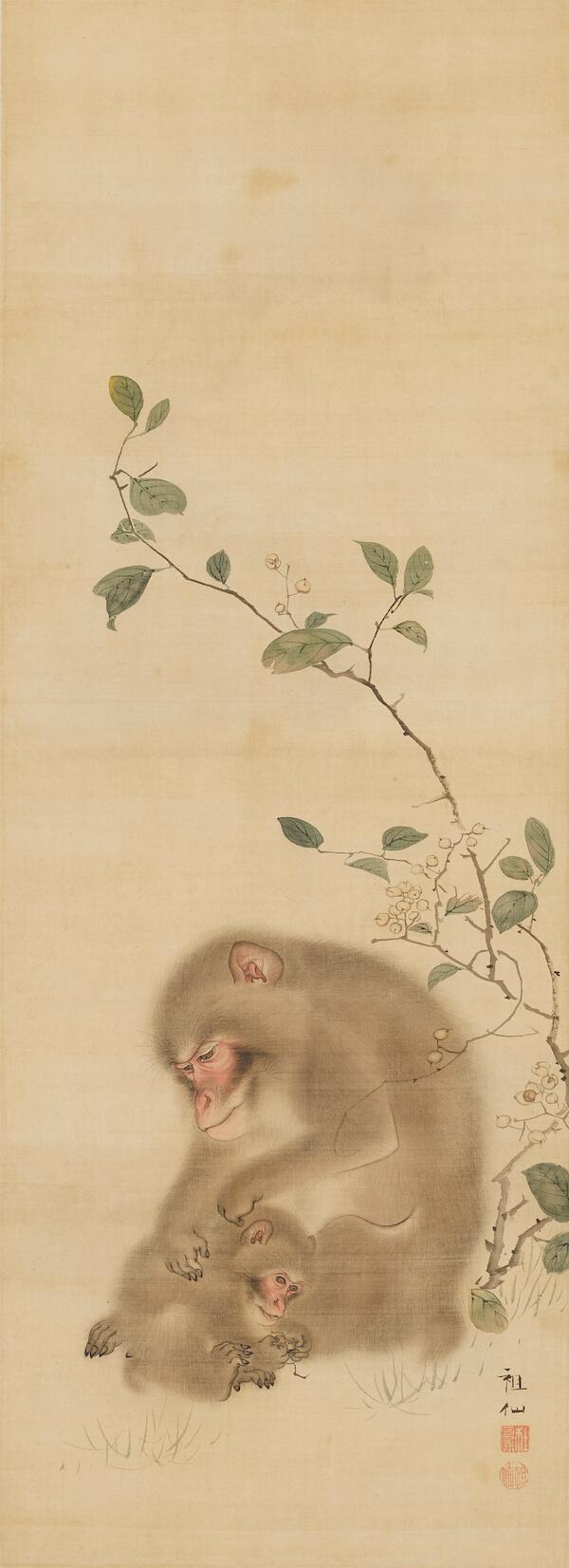 森祖仙 「親子猿図」 福田美術館蔵
