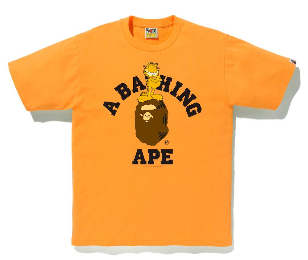 A BATHING APE(ア・ベイシング・エイプ)×GARFIELD(ガーフィールド)のコラボTシャツ、オレンジカラー