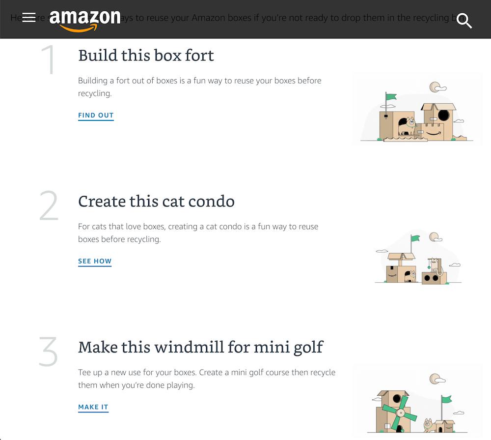 Amazonが段ボールの消費量を削減するために展開しているプログラム「包装を減らし、笑顔を増やす」