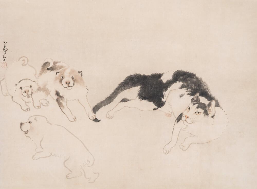 長沢芦雪 「猫と仔犬図」 福田美術館蔵