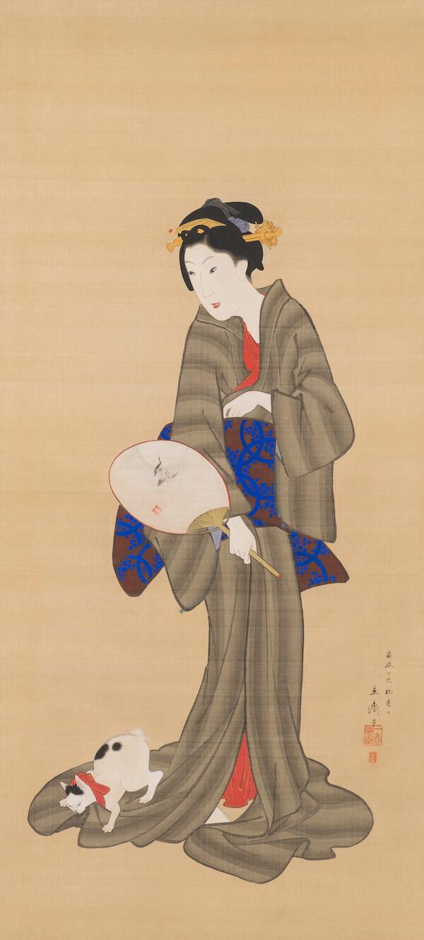 歌川広重 「美人と猫図」 福田美術館蔵